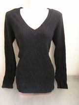 lane bryant black v-neck long sleeve ribbed sweater plus size 14 16 large - $24.49