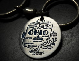 Ohio Double Ring Key Chain Silver Colored Metal with Blue Print State Landmarks - $6.99