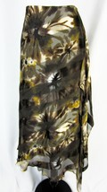 Dana Buchman Skirt size 8 Olive Brown Floral Striped Silk Shawl Drape Mo... - $37.97