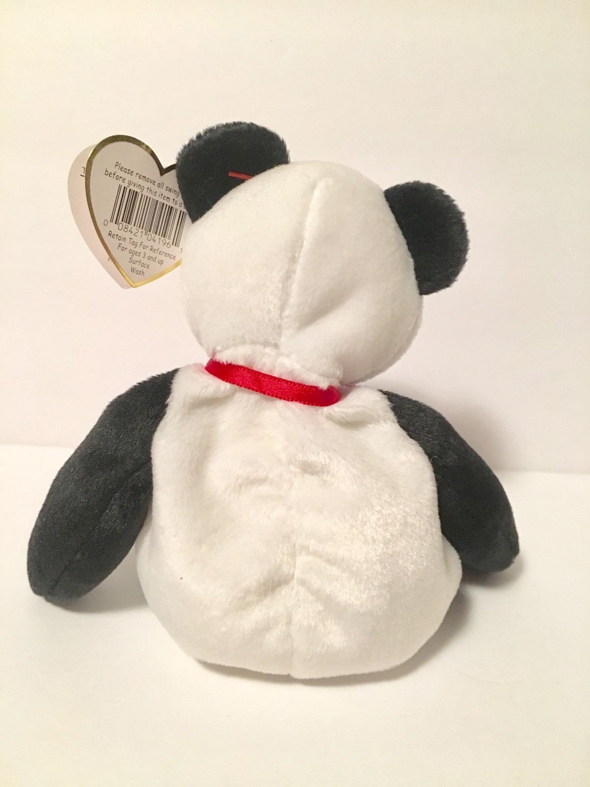 Ty Beanie Babies Plush Beanbag Fortune the Panda Bear Black White