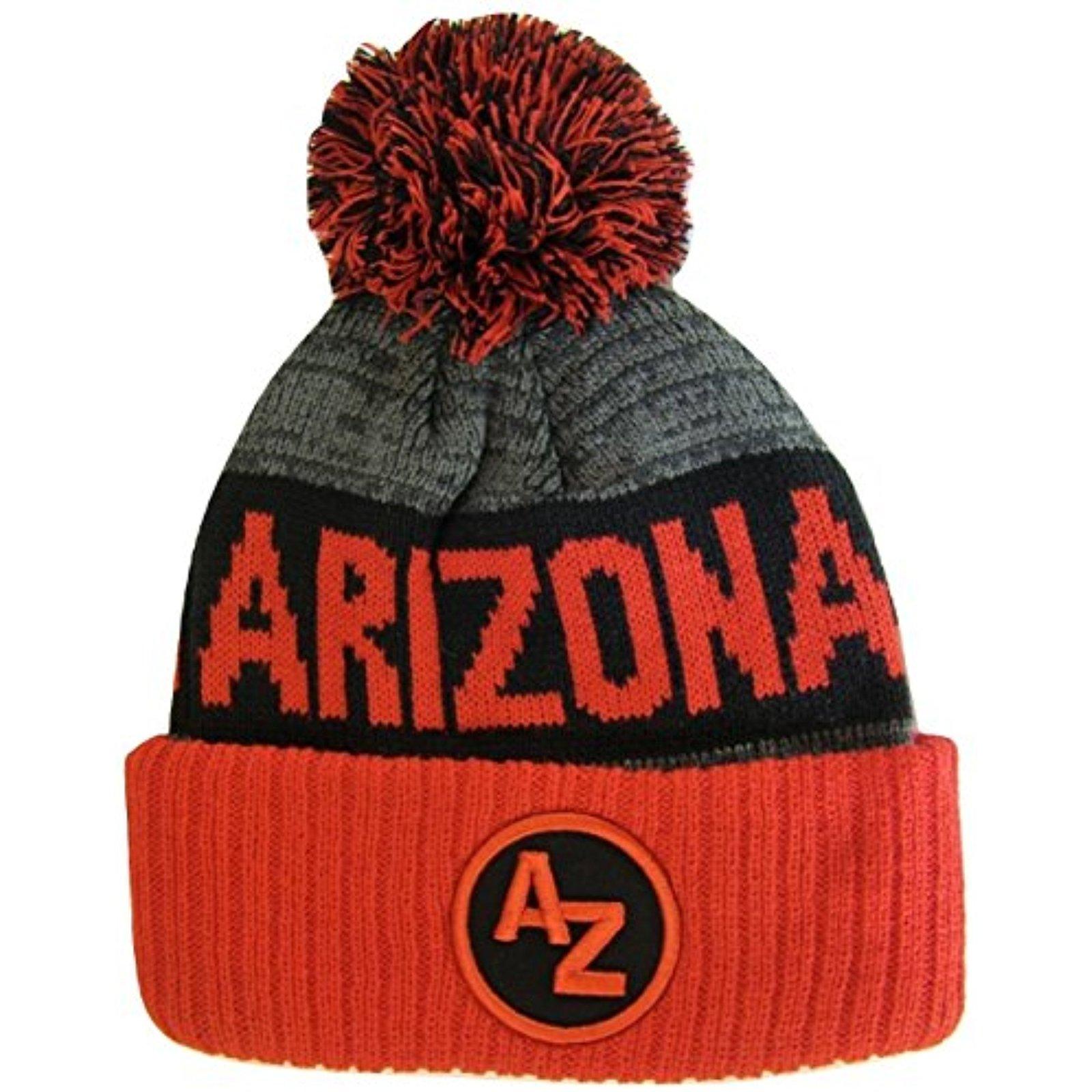 Arizona AZ Patch Ribbed Cuff Knit Winter Hat Pom Beanie (Red/Black Patch)