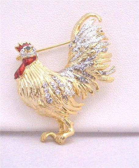 Gold Plated Hen Brooch with Silver Work on Wings Feather & Spread CZ