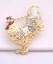 Gold Plated Hen Brooch with Silver Work on Wings Feather & Spread CZ - $8.83