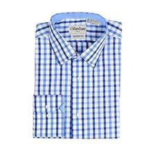 Men's Checkered Plaid Dress Shirt - Dark Blue, X-Large (17-17.5) Neck 34/35 Slee