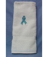 Ovarian Cancer Awareness Teal Ribbon White Embroidered Bath Towel New - $17.61