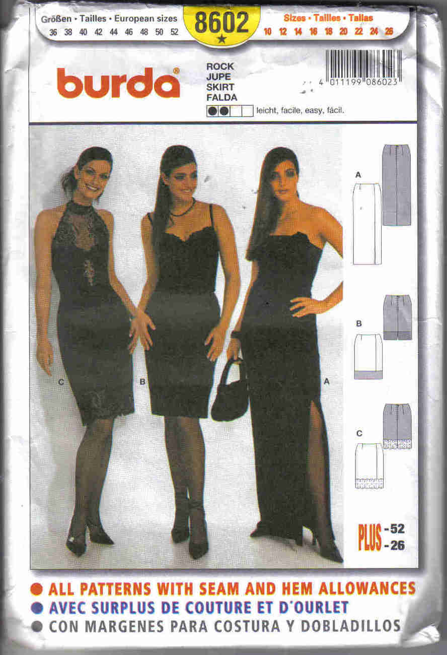 Burda 8602 Pattern 10 12 14 16 18 20 22 24 26 Skirt formal long short misses VP1