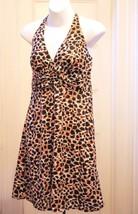 H&M 8 M Dress Halter Black Brown White Animal Print Babydoll Sundress Me... - $14.69