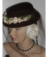Vtg WWII Hat 1930 40s Tilt Derby Below Full Face Veil Brown Wool Flowers... - $150.00