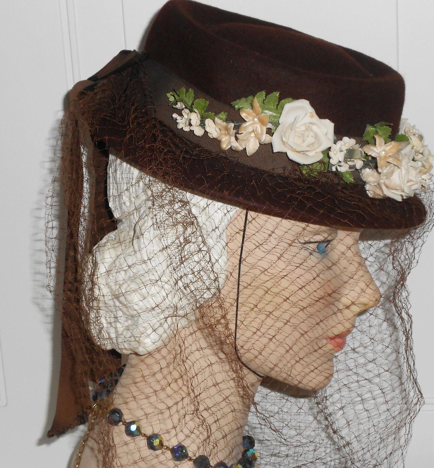 Vtg WWII Hat 1930 40s Tilt Derby Below Full Face Veil Brown Wool Flowers EUC