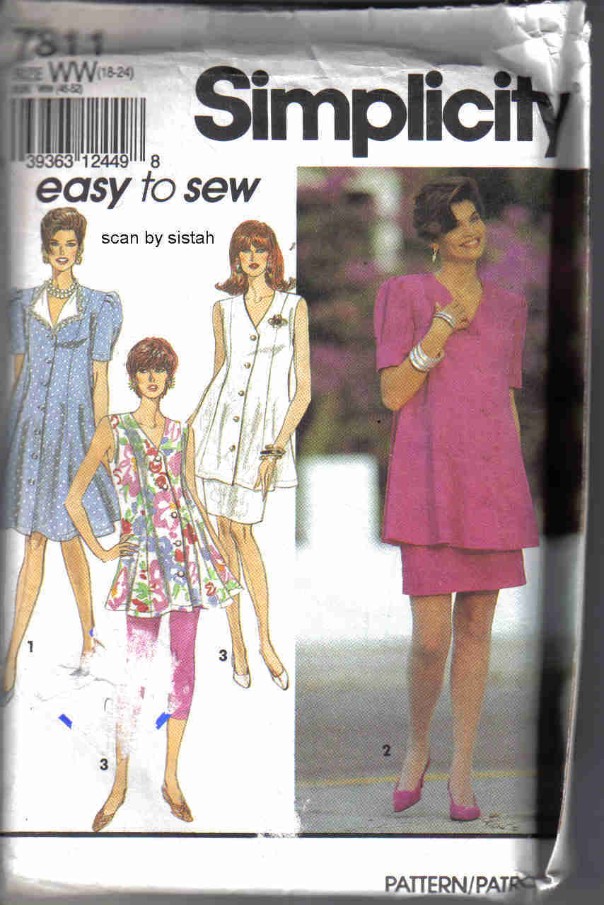 Simplicity 7811 maternity Pattern 18 20 22 24 dress tunic leggings skirt outfit