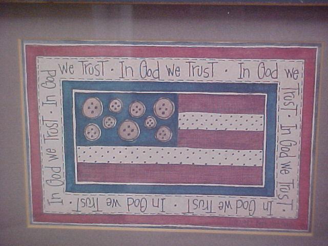 Beth Yarbroug In God We Trust U S Flag Signed-Dated Print