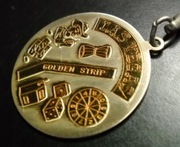 Las Vegas Key Chain Gold and Silver Colored Metal City Icons on the Golden Strip - $6.99