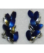 Vintage Dark Blue Stone and Silver Metal Clip Earrings - $12.99