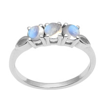 Three Stone Rainbow Moonstone Stacking Band 925 Fine Silver Engagement Ring - $18.17