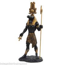 SOBEK CROCODILE GOD STATUE MUSEUM REPLICA GOD OF THE NILE BLACK GOLD - $59.99