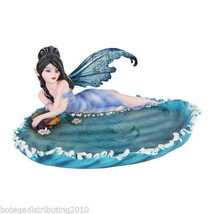 "Ocean Waves Fairy On Shore Jewelry Vanity Dish Figurine Statue 7""L Lily Pad - $26.72"
