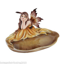 Autumn Thinking Fairy On Fall Leaf Pad Jewelry Vanity Dish Figurine Stat... - $24.26