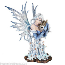 "14"" H Winter Fairy Statue Queen Of Forest Tribal Wolf Figurine Snow Tree... - $61.37"