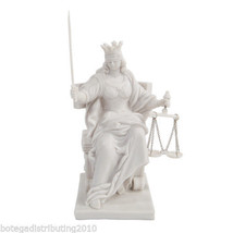 WHITE LADY JUSTICE SEATED ON THRONE STATUE GREEK FIGURE LA JUSTICIA - $35.99