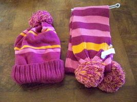 Girl's The Children's Place Plum Beanie Scarf Winter Hat Pom Pom Set New $26 - $16.99