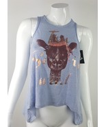 Art Class Girls Size Large 10/12 Blue Shimmer Giraffe Design Fringe Tank... - $13.09