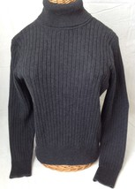 Pria Charcoal Gray Turtleneck Sweater Ribbed Cotton Sz Medium - $24.95