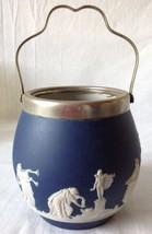 Dark Blue Jasperware and EPNS Biscuit Barrel Jar Adams Tunstall England ... - $69.95