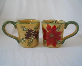 2 Large Gold Poinsettia Coffee Mugs Ribbed Pine Cones Holly Christmas Ho... - $14.95