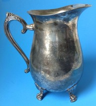 Vtg Leonard Silver Plate Water Pitcher Tea Ice Lip Claw Feet Footed Need... - $39.99