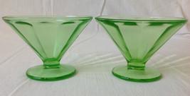 2 Federal Glass Optic Panel Green Sherbet Fluted Pedestal Dessert Cup De... - $14.95