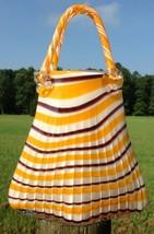 Large Art Glass Handbag Cased Blown Orange Brown Purple Stripe Murano St... - $59.35
