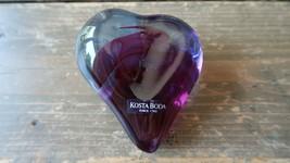 """Purple Blue KOSTA BODA Heart Paperweight 3.5"""" - $89.09"""