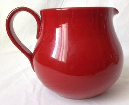 Vintage Red Pottery Water Pitcher Jug Italy Glazed Ball Primitive Vase - $29.95