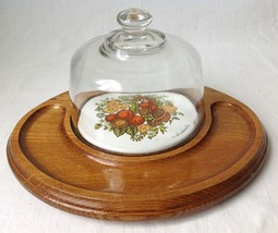 Vtg Spice Of Life Cheese Board Cracker Serving Tray Glass Dome Goodwood Corning - $34.95