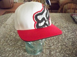 MEN'S GUYS FOX RACING WHITE FITTED HAT CAP FOX HEAD RED LID BILL NEW $30 - $21.99