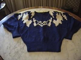 New V Neck Royal Blue Angora Wool Blend Geometric Pattern Sweater Small - $25.00