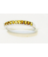 14K White Gold Yellow Citrine Round Stack Ring, Size 5.5, 1.65GR, 2MM Wi... - $149.99