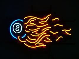 "Snooker Pool Billiards 8 Ball Fire Beer Bar Neon Light Sign 16'' x 15"" - $599.00"