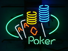 """Poker Ace Coin Table Beer Bar Neon Light Sign 16'' x 14"""" - $599.00"""