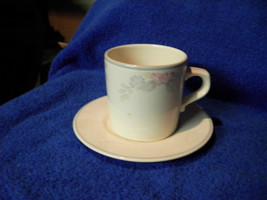 Pfaltzgraff White With Pink Blue White Floral Set Of 3 Cups And Saucers - $9.95