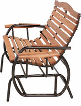 Wood Patio Bench Glider With Trays Outdoor Garden Porch Swing Chair Loveseat image 4