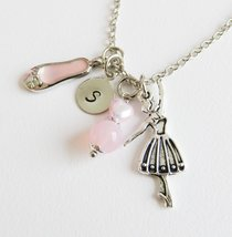 Personalized pink ballet necklace, ballerina jewelry, girls initial neck... - $9.85