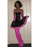 NWT fetish PINK princess stretch black pvc vinyl Dominatrix  dress size ... - $98.99
