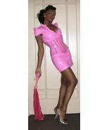 NEW pink pvc vinyl fetish mistress strong shoulder mini dress size xs xx... - $197.99