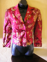newport news red burgundy floral brocade satin blazer jacket size 4 chinoiserie - $24.74