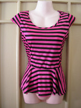 NWT never worn retro new wave pink black ruffles peplum tee shirt size s... - $24.74