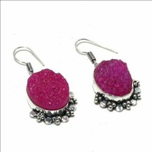HANDMADE HOT PINK FUSCHIA DRUZY SILVERPLATED PIERCED DANGLE EARRINGS - $12.86