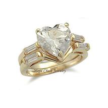 Women's Gold Tone Heart Shape Cz Engagement & Wedding Band Ring Set Size  5  10 - $16.90