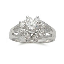 Women's Sterling Silver Flower Aaa Cz Engagement Ring   Size 5 (Last One) - $23.58