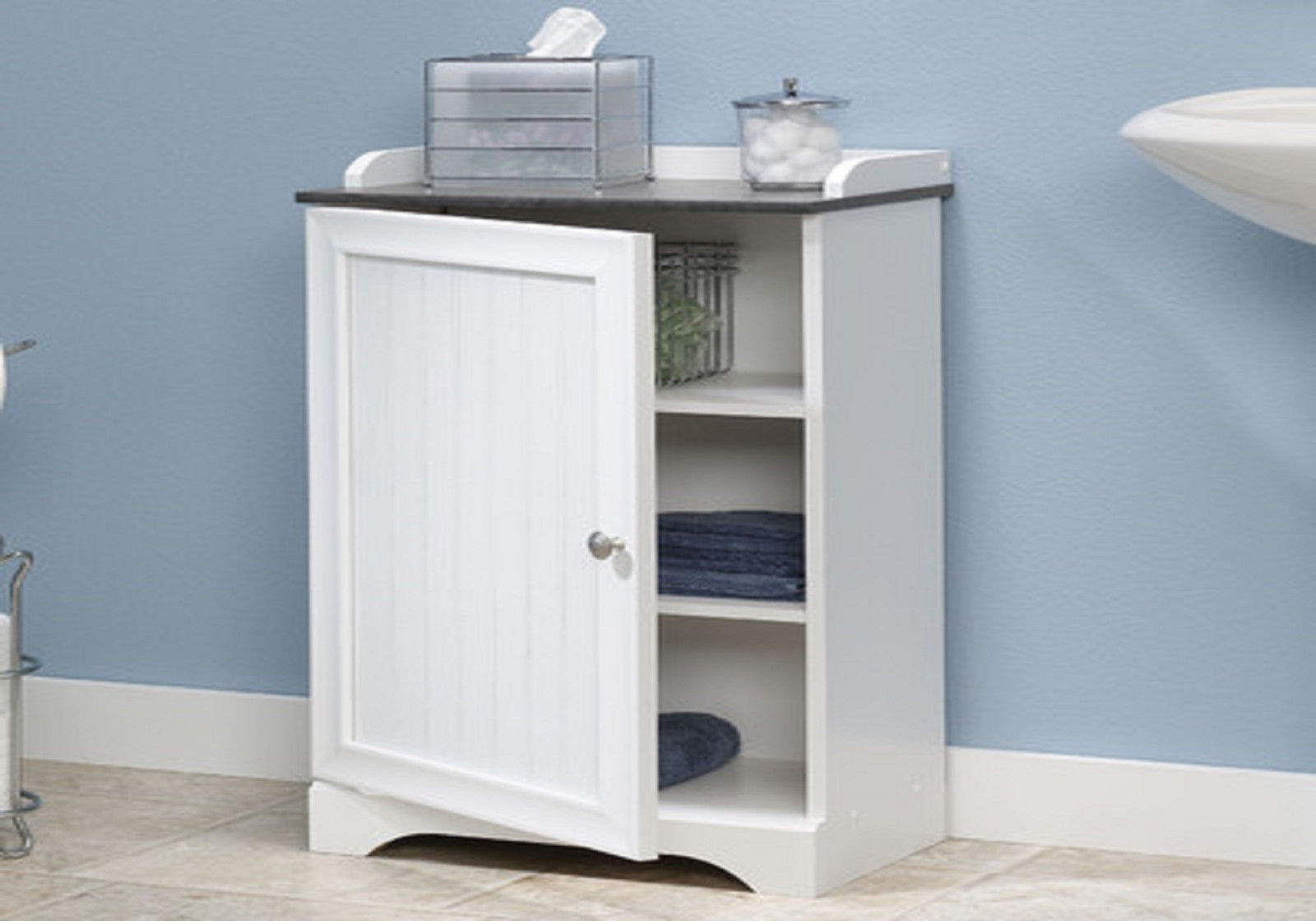 New Small White Bathroom Bath Ideas Floor Towel Storage Cabinets Decor Furniture image 1